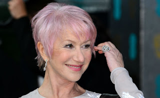 Dame Helen Mirren rocking her pink hair at the BAFTA awards