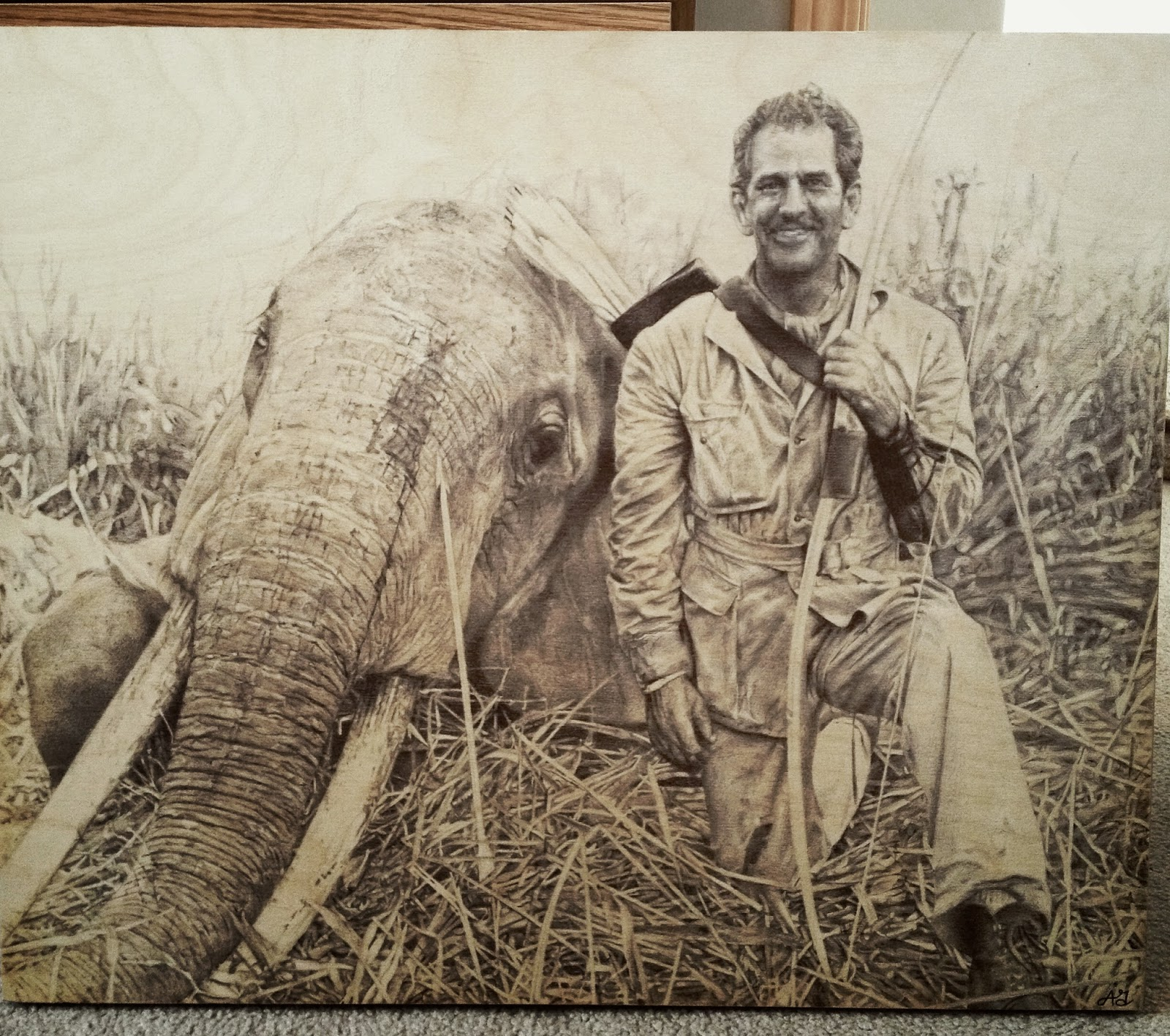 Howard Hill, drawing, bic pen, black pen, wood, art, realism, elephant