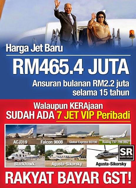 Henti Guna Jet Peribadi Selepas Rakyat Dikenakan GST GERAKAN Kata Pada Najib Dan Rosmah
