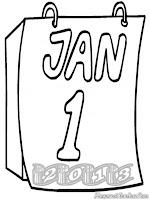 Mewarnai Gambar Kalender Tahun Baru 2013