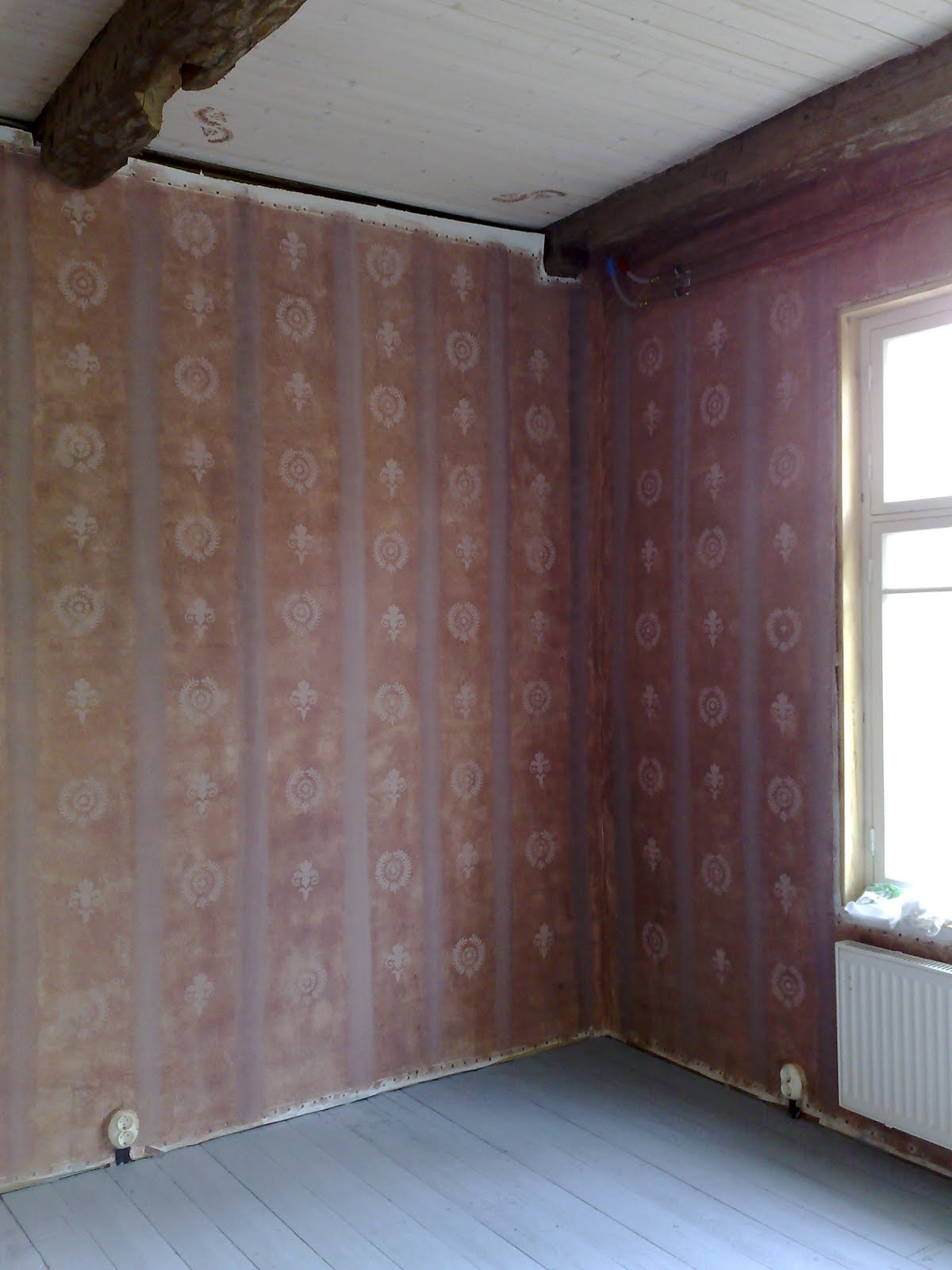 Kaseiinimaalilla vastamaalattua seinää