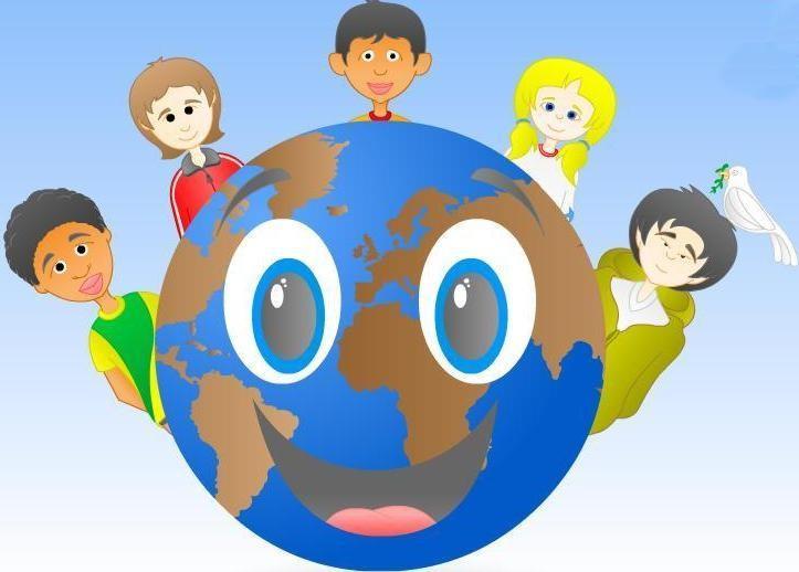 Dibujo al Día de las Naciones Unidas (Planeta Tierra rodeada de niños de diferentes naciones)