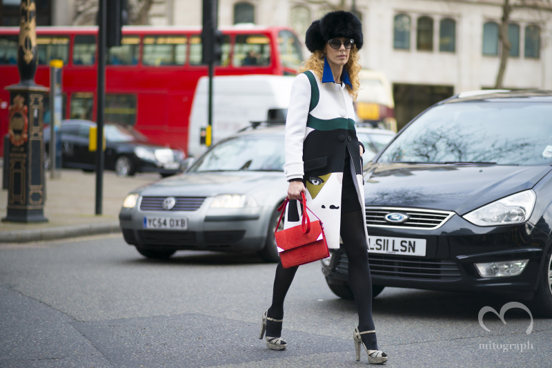 Kabuki Paris Owner Elina Halimi wears Prada during London Fashion Week LFW
