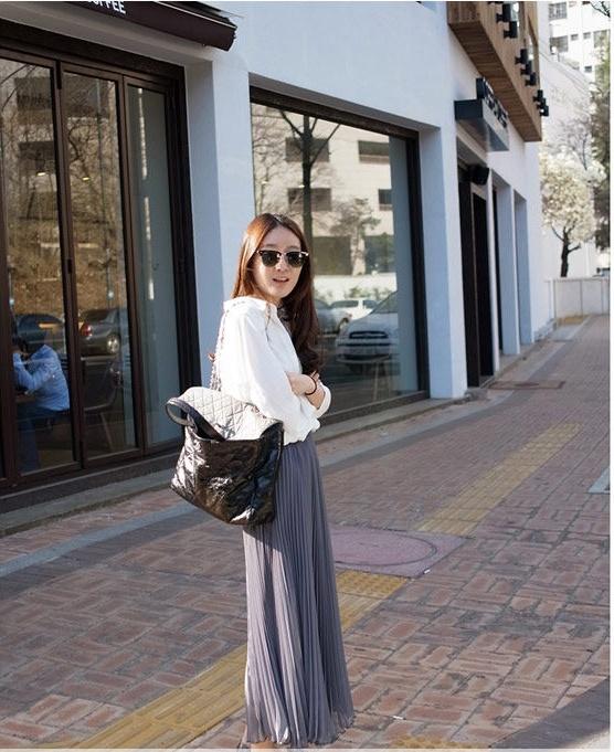asian korean fashion blog how to wear the maxi skirt