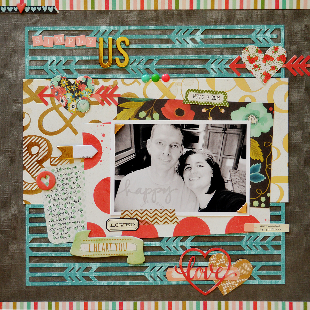 Simply Us Scrapbook Page by Suzanna Lee featuring 17turtles Digital Cut Files Running Arrows and Speech Bubble Love