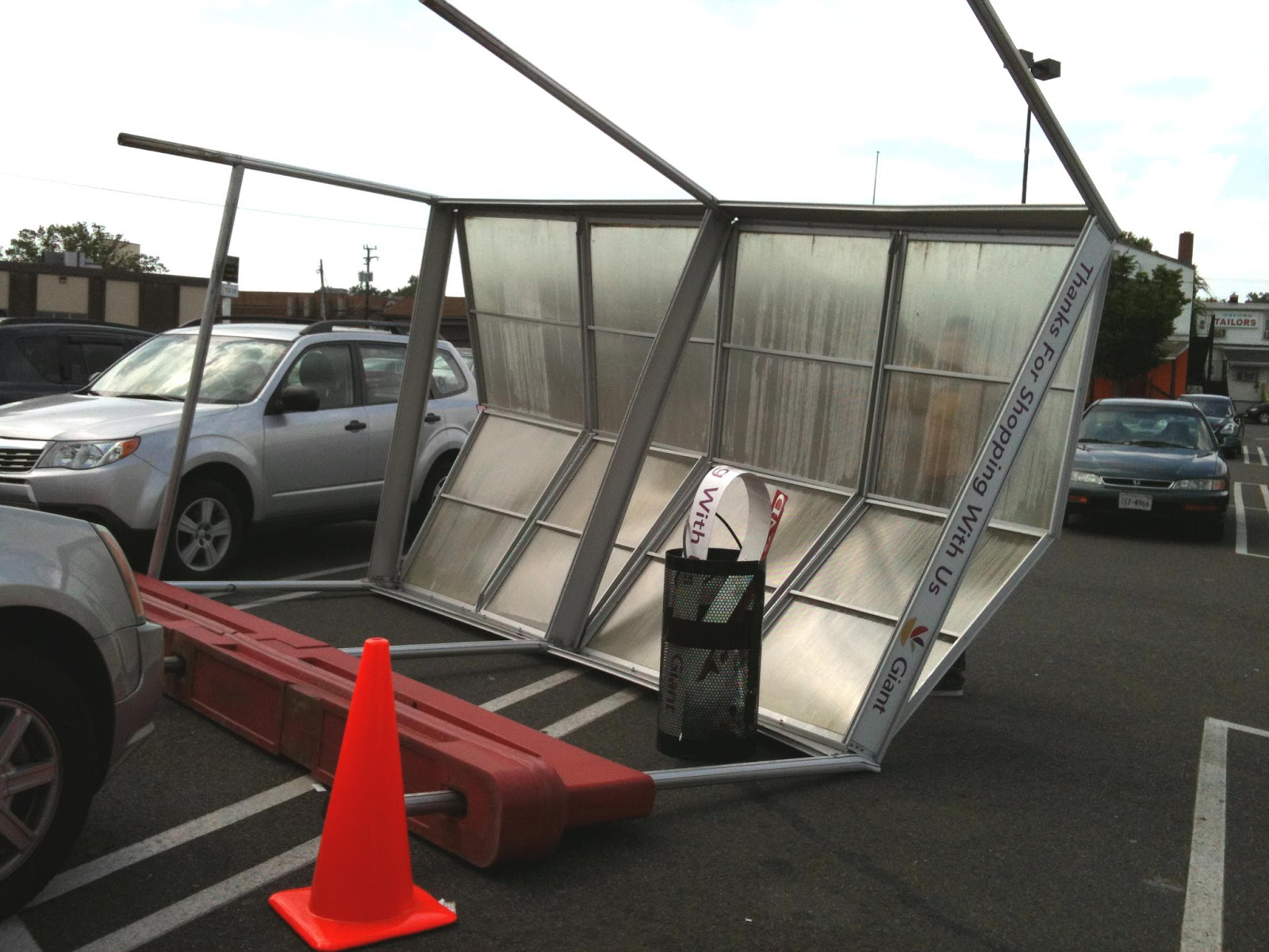 Metal Shelter Grocery Cart : The annandale scene around a town winds destroy