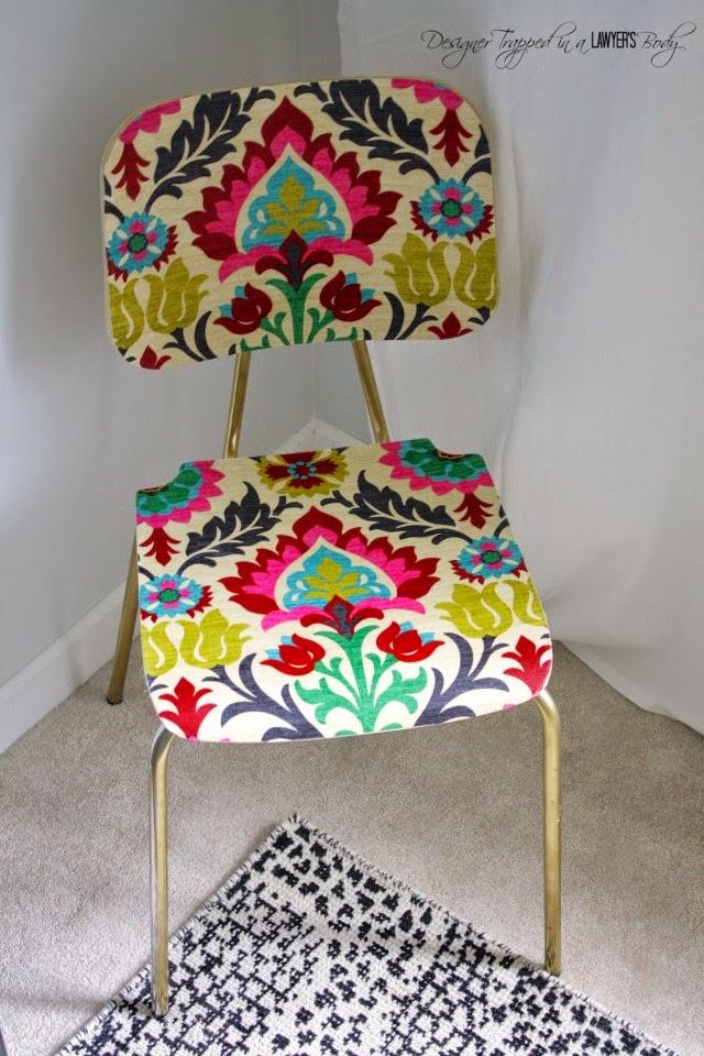 Diy tissus mod podge 1 chaise design initiales gg - Colle mod podge ...