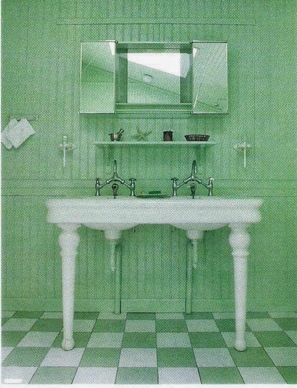 Baño Verde Con Blanco: verde medio ó verde claro que se combinan con liso blanco ó con