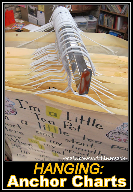 photo of: Organize your Anchor Charts by Hanging them on Hangers