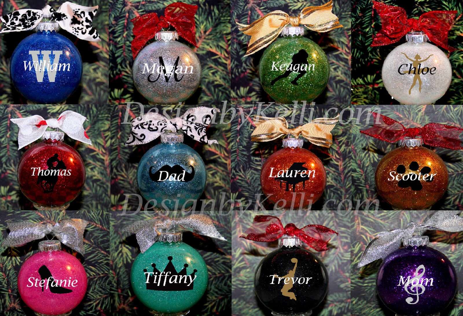 Personalizable ornaments - Updated Christmas Glass Block Vinyl Decals And Personalized Ornament Colors