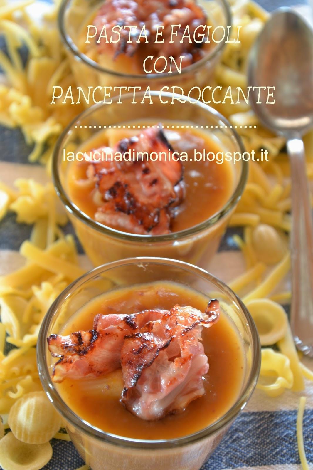 pasta e fagioli con pancetta croccante