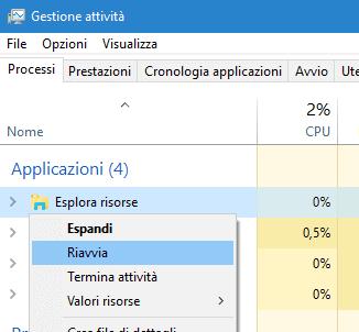 Riavviare processo Esplora risorse Windows