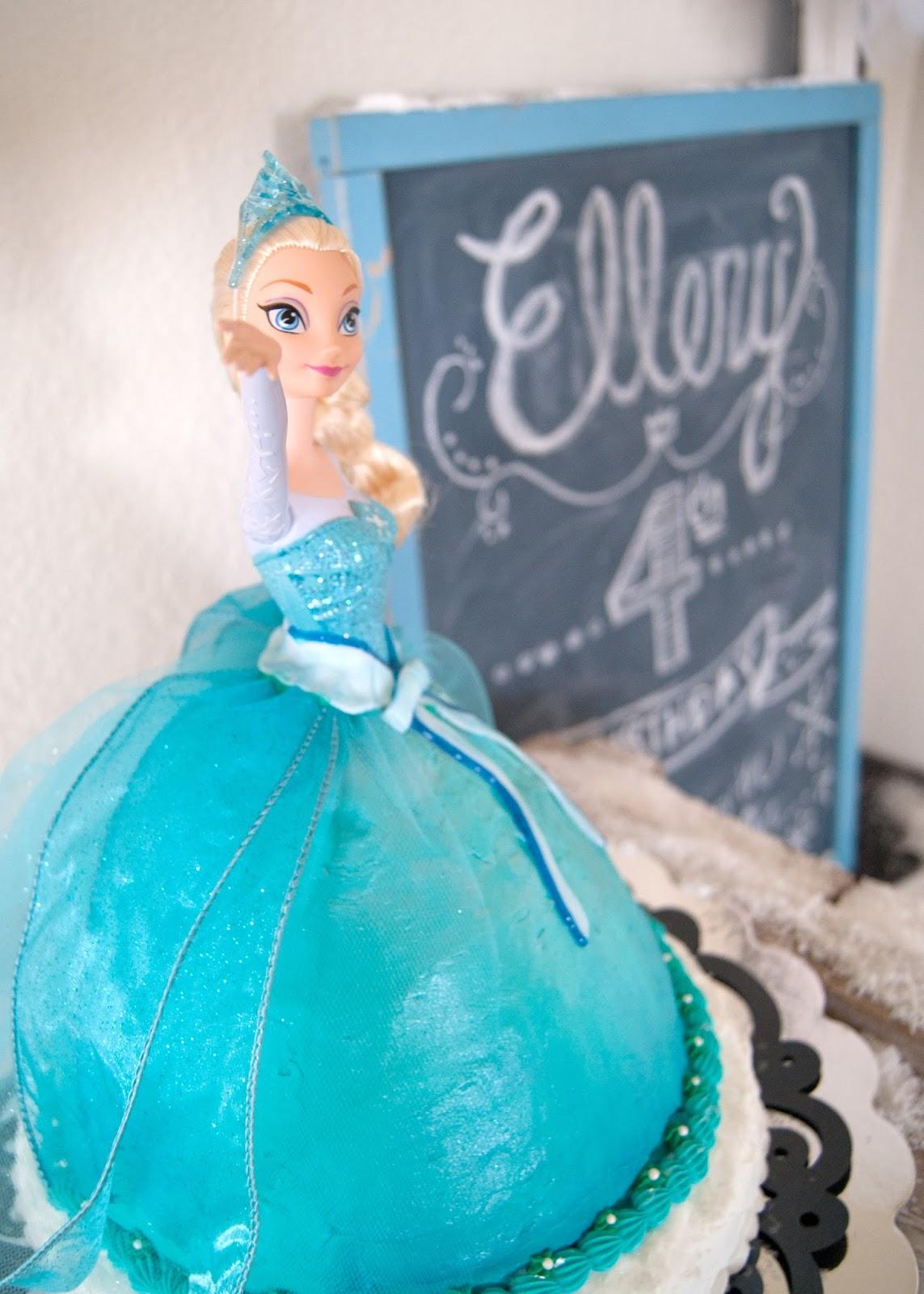 Frozen Elsa Cake and a vintage chalkboard