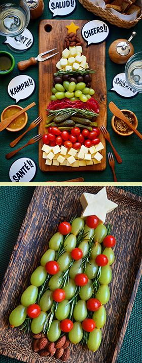 Duas tábuas de aperitivos em formato de Árvore de Natal