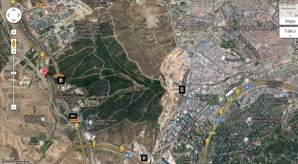 Mapa con los puntos de entrada a la Dehesa de Valdelatas