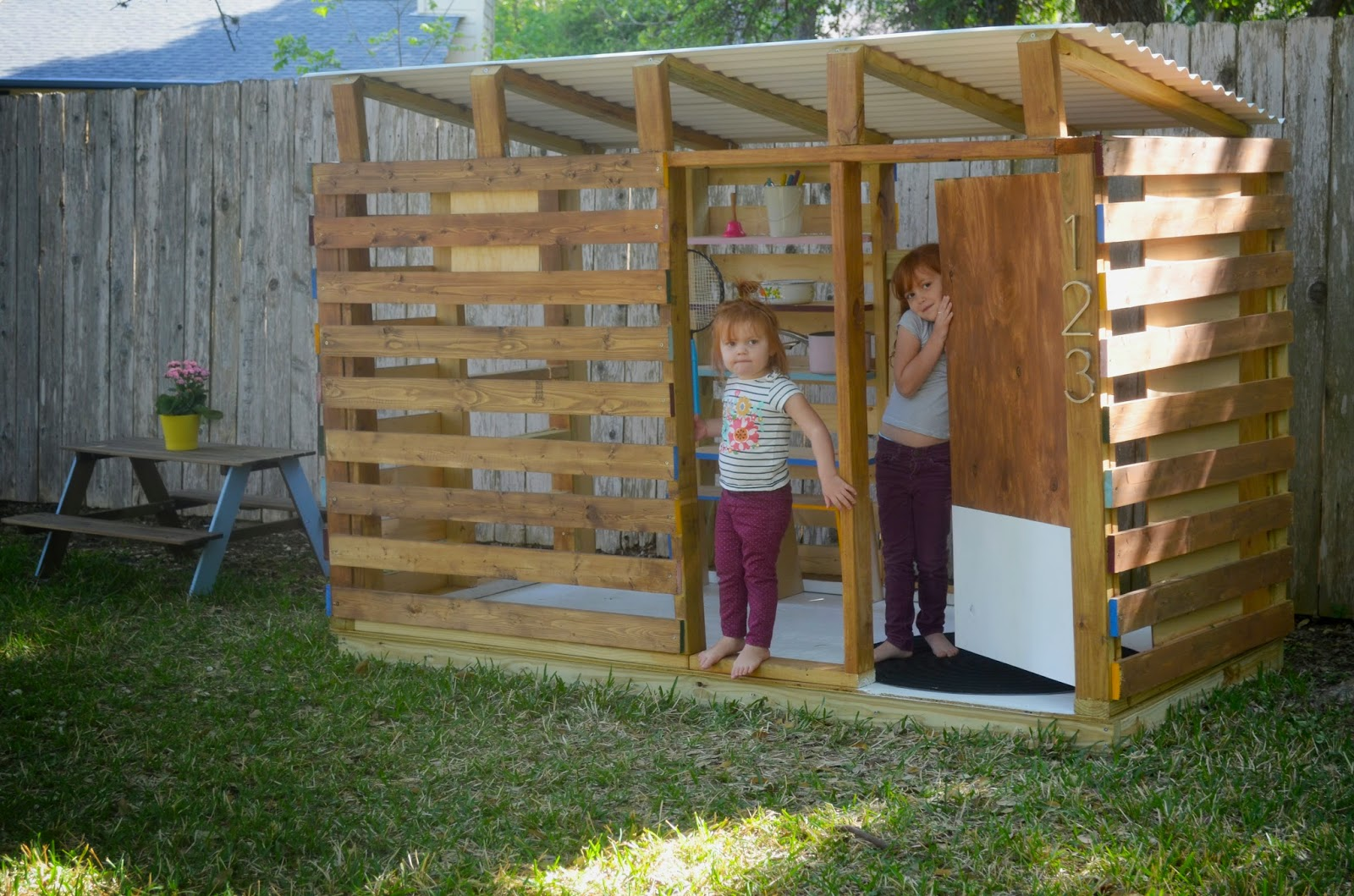 Modern diy outdoor playhouse tour and how to for How to make a playhouse out of wood