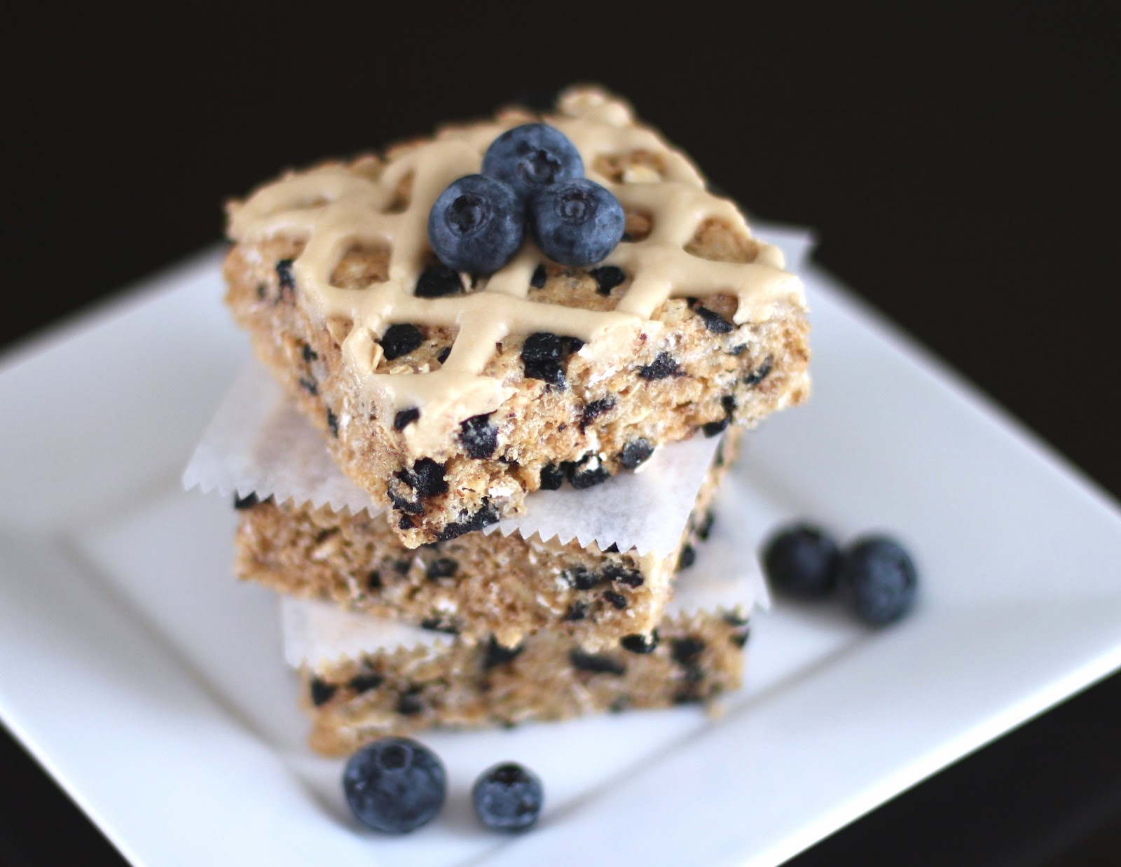 Healthy Blueberry Bliss Krispy Treats with Maple Icing