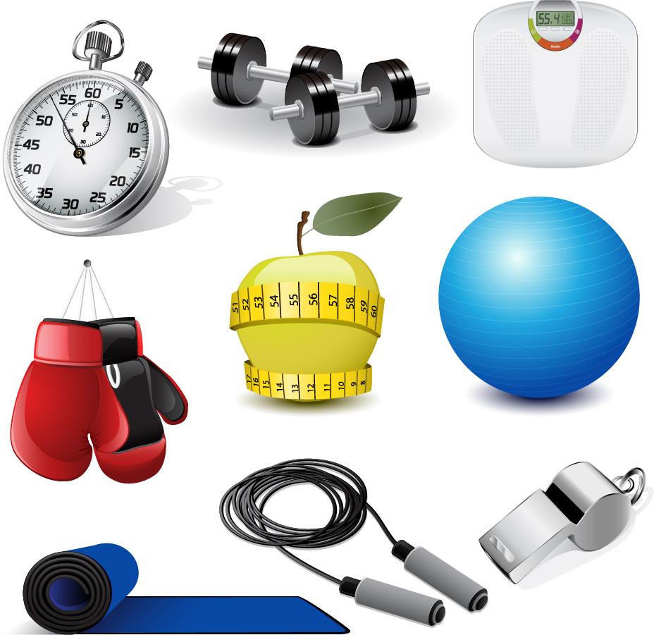 フィットネス用品 fitness equipment vector イラスト素材
