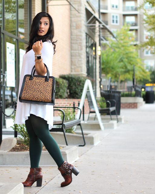 green tights, colored tights, how to wear colored tights, leopard bag, cheetah vera bradley bag, Natalie Crossbody in Cheetah, white tunic, white top, brown lipstick for fall, brown lipstick, buxom lipstick in revealed, freebird boots, fall outfits, fall fashion, fall 2015 fashion, alex and ani, kendra scott, apple watch, fashion apple watch
