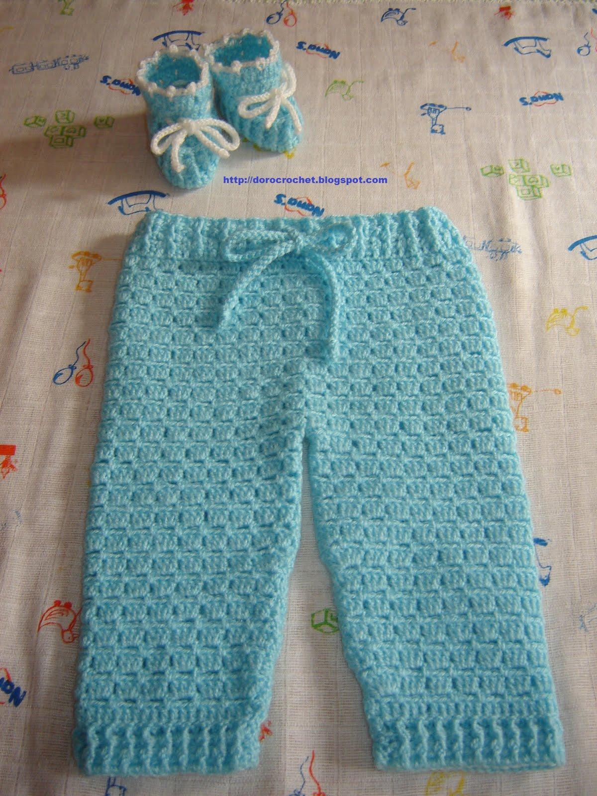 El baúl de Doro: Pantalón y zapatitos de bebé en crochet.