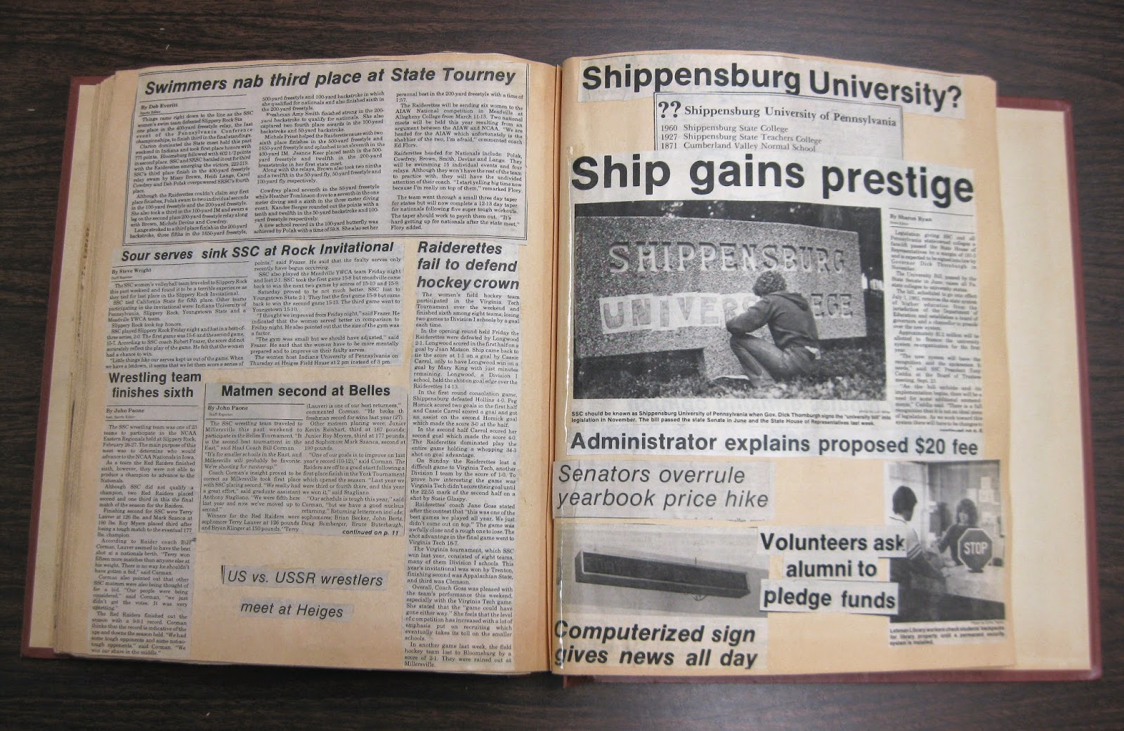 Scrapbook ideas newspaper articles - University News Clippings Appeared Frequently In Later Ship Scrapbooks Such As In These Pages From 1983 Magazine Cutouts And National Newspaper Headlines