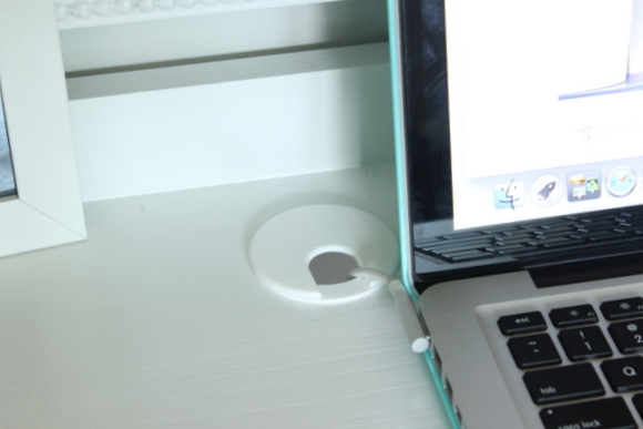 A DIY cable access hole in this office desk and gallery wall reveal!