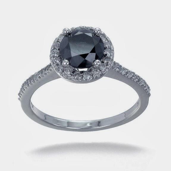 Black Diamond Engagement Ring in 10K White Gold
