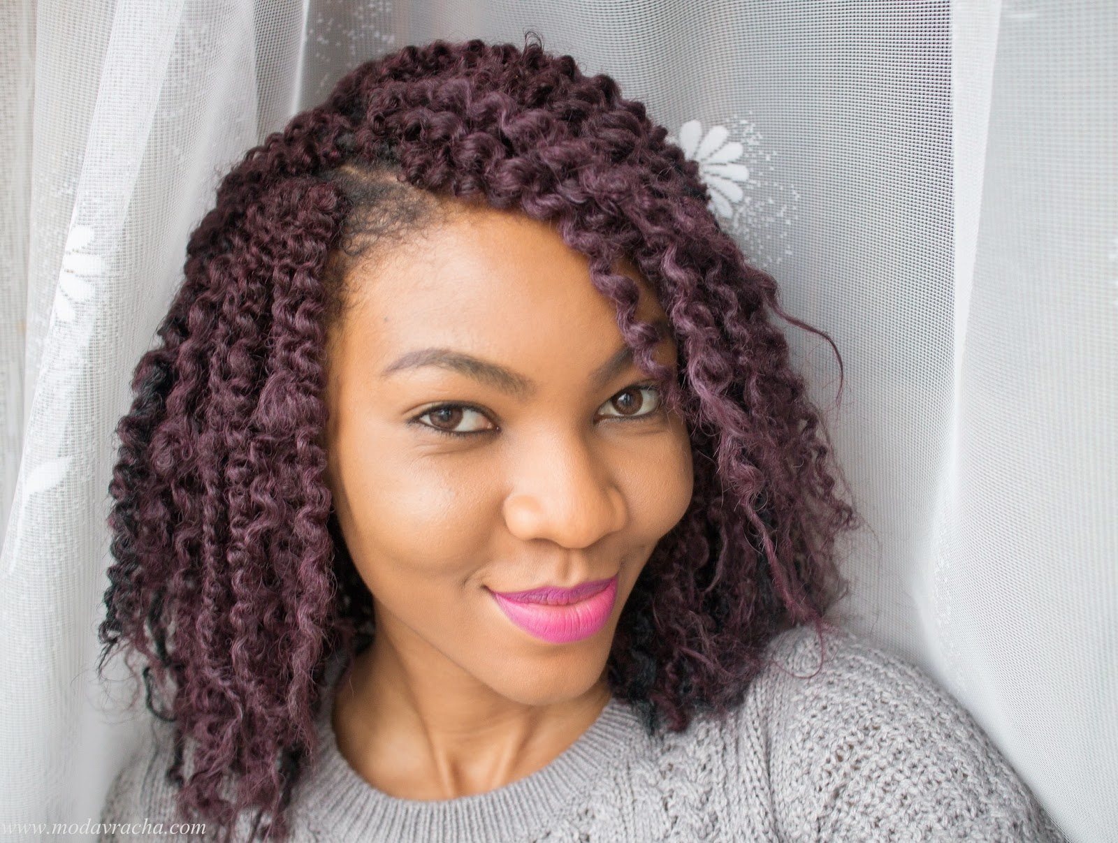 Modavracha crochet braids hairstyle with kinky bulk hair.