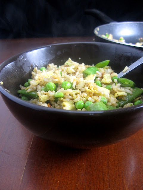 Fried Rice with Peas and Snap Peas