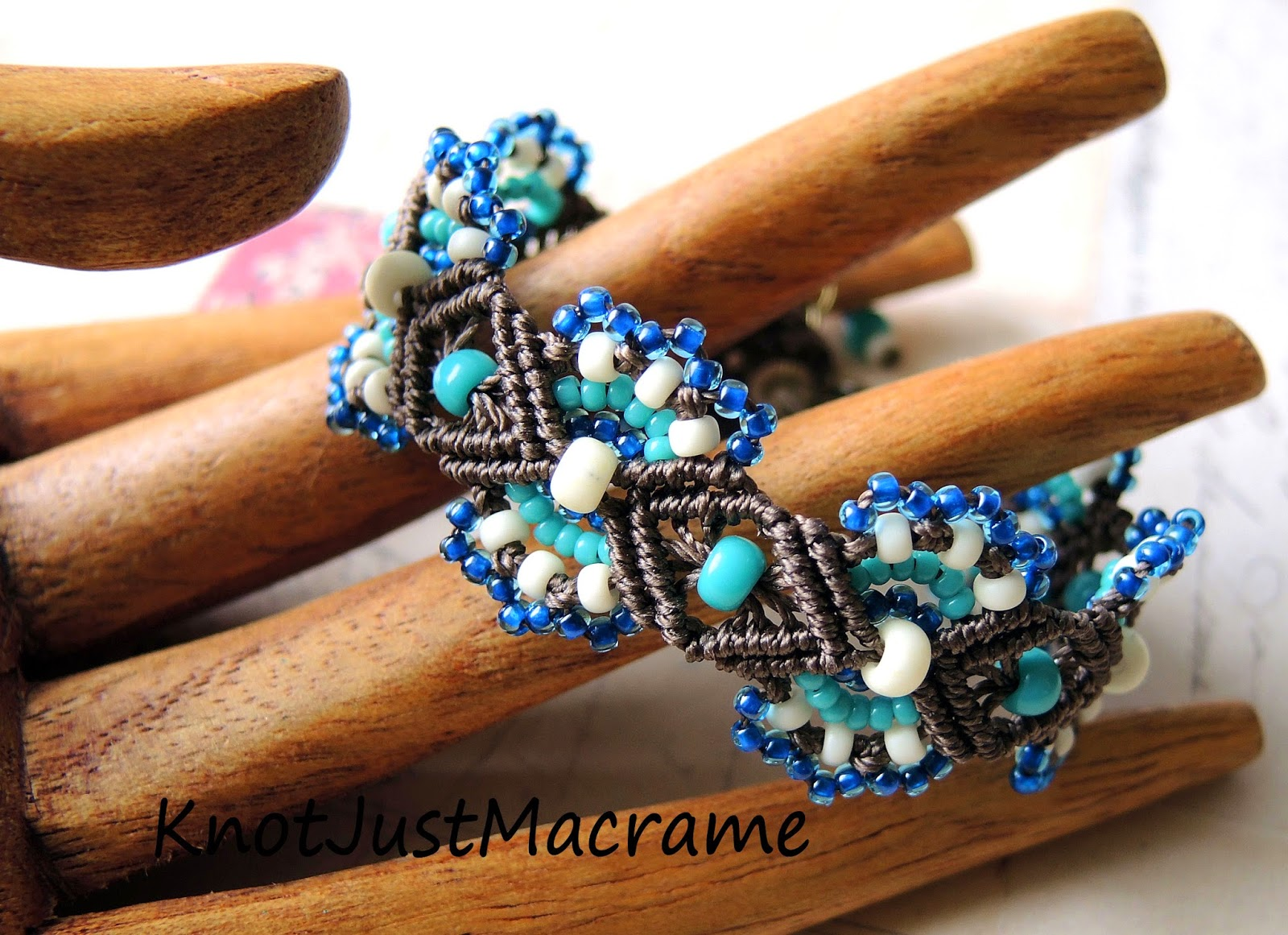 Handmade bracelet - knotted micro macrame in brown, turquoise and blue.