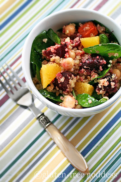 Gluten-Free Goddess quinoa salad recipe with roasted beets chick peas and oranges