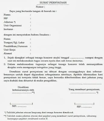 Contoh Surat Pernyataan Persyaratan Administrasi CPNS Honorer dan Dokter