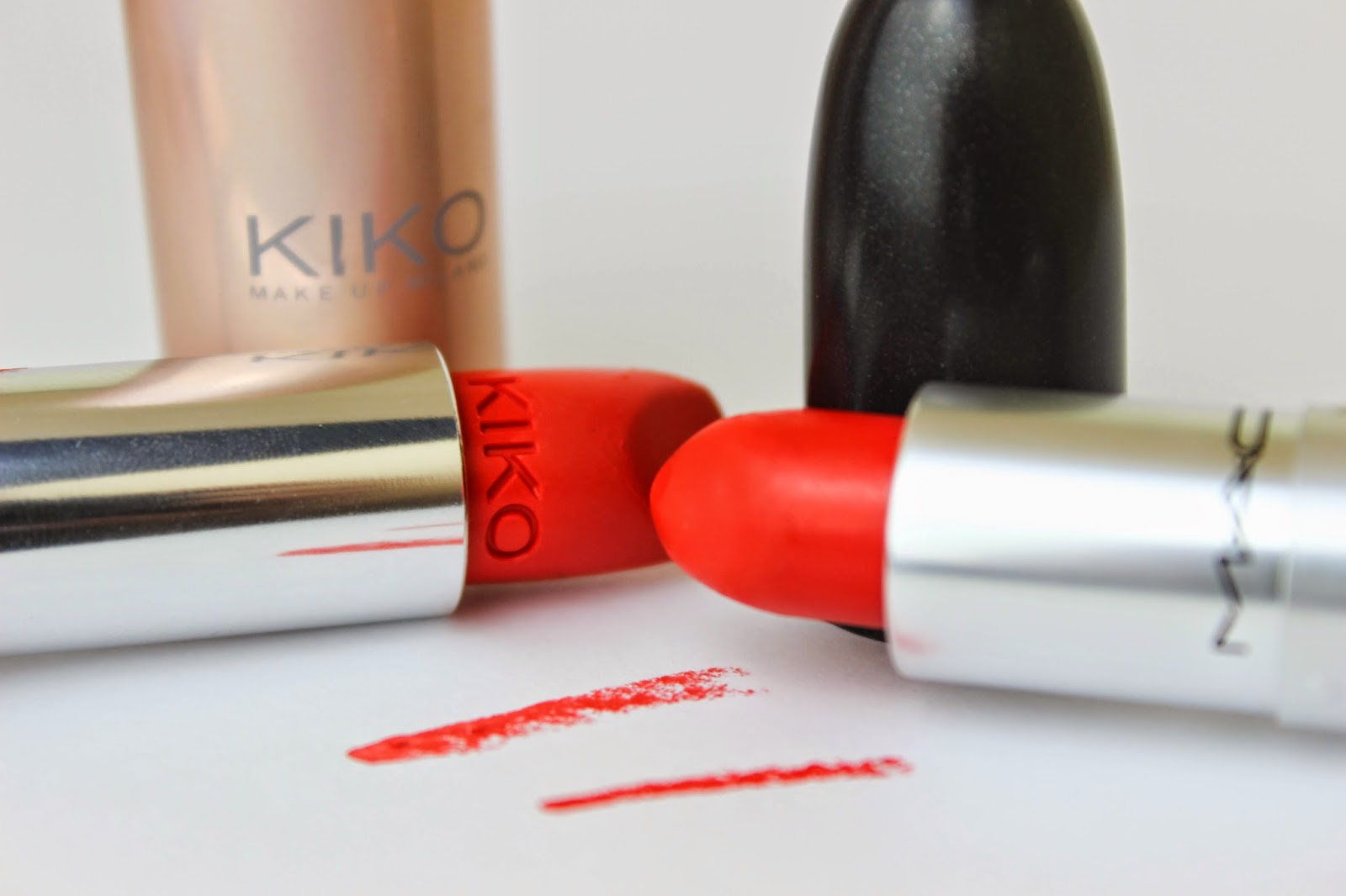 MAC Lady Danger Dupe KIKO Orange Red 605 Matte Lipstick