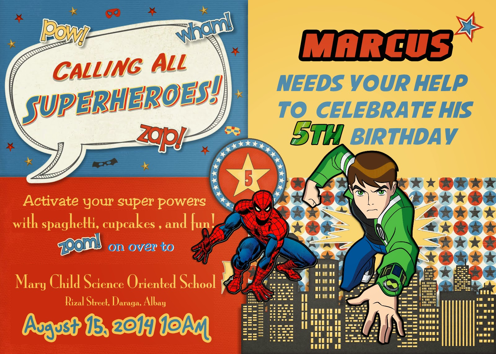 Ben10 and Spiderman Birthday Invitation - STUPIGITY