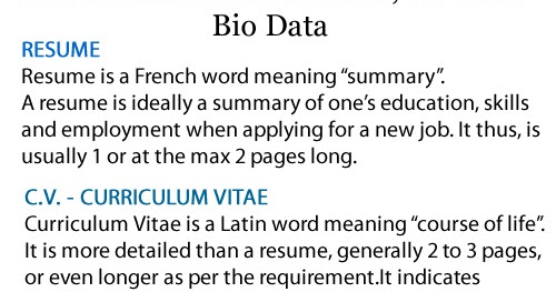 difference between cv resume and biodata dingy participate cf