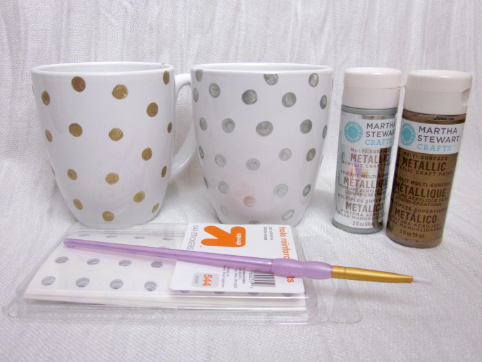 DIY polka dot coffee mug