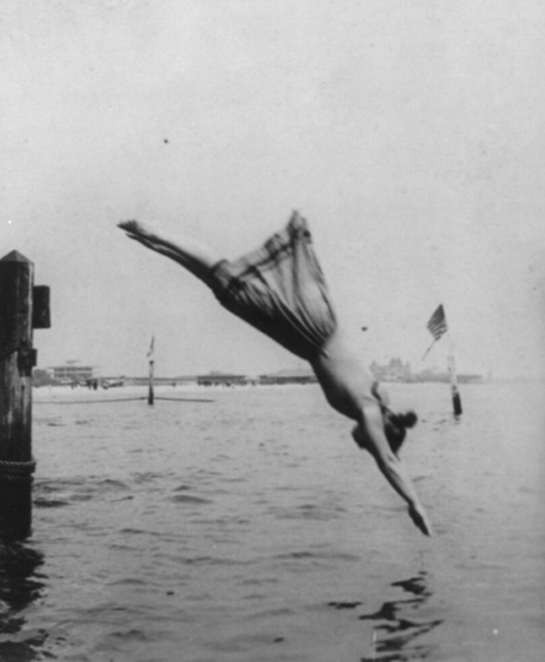 J. S. Johnston Woman diving from pier