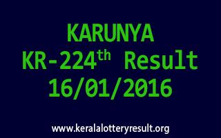 KARUNYA KR 224 Lottery Result 16-01-2016