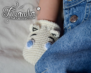 Krawka: Moomin and Snorkmaiden anti scratch gloves for infants FREE PATTERN