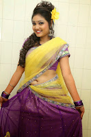 TV Anchor Priyanka in transparent Half Saree Navel Show still