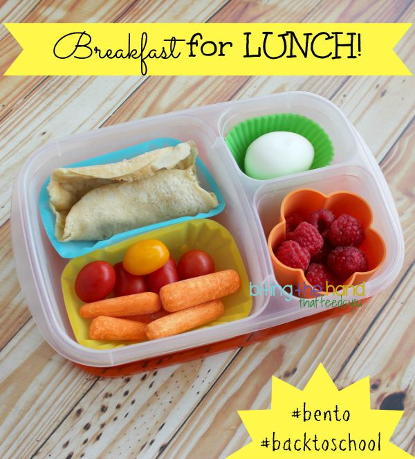 Leftover pancakes and hard-boiled eggs make for an egg-cellent bento lunch!