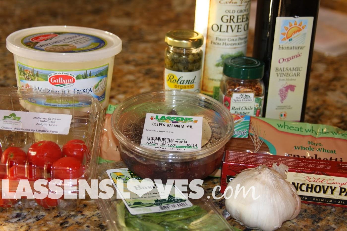 lassensloves.com, Lassen's, Lassens, Pasta+Puttanesca,Kalamata+Olives, Caprese+Salad
