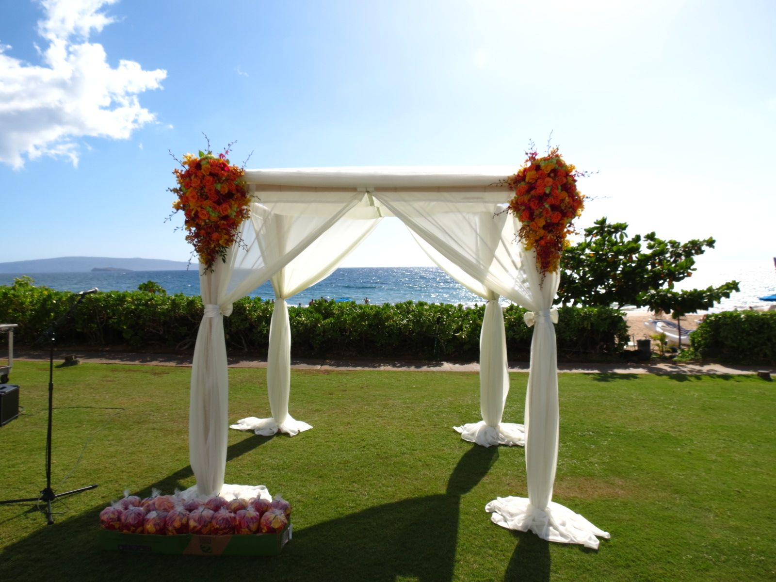 Destination Wedding set-up at Fairmont Kea Lani title=