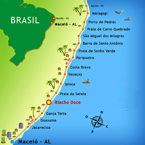 Mapa do Litoral Norte de Alagoas