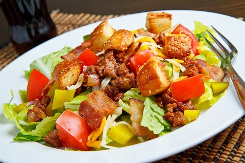 Bacon Double Cheese Burger Salad