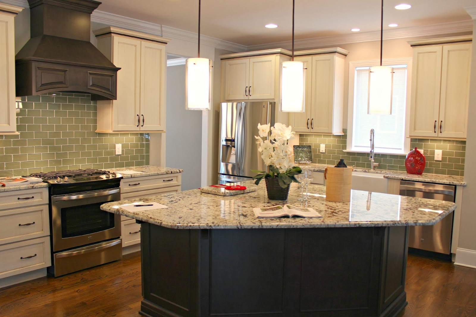 Carolina on my mind parade of homes Kitchen triangle design with island