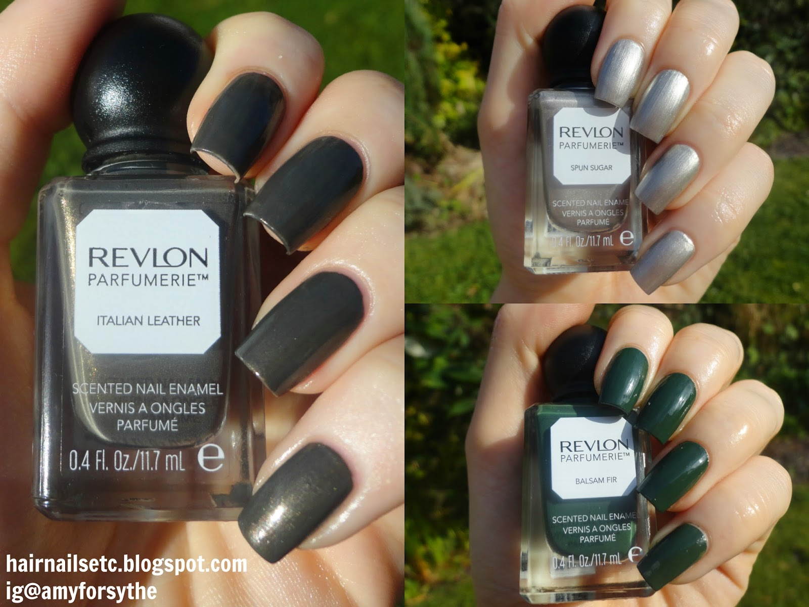 Swatch and review of Revlon Parfumerie Nail Enamel Varnish Polish in Italian Leather, Spun Sugar and Balsam Fir
