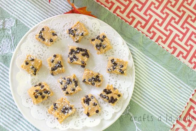 Creamy pumpkin fudge with chocolate chips