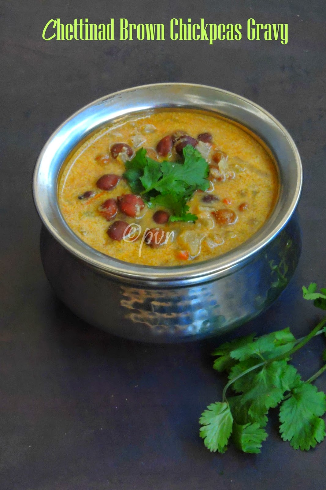 Chettinad chickpeas gravy, brown chickpeas kuzhambu