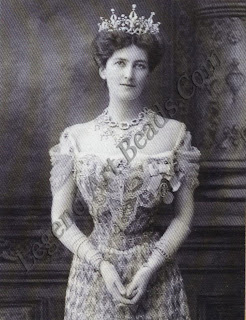 Lady Curzon, the Vicereine of India, dressed for the 1903 Cornation Durbar. Her diamond and platinum tiara was made by Boucheron of Paris.